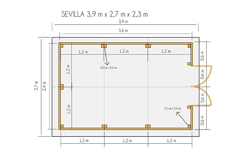 cadema Jardín Casa de madera 2, 7 m x 3, 9 m x 2, 2, (19 mm), con ventanas con soporte suelo, Sevilla - Cobertizo: Amazon.es: Jardín
