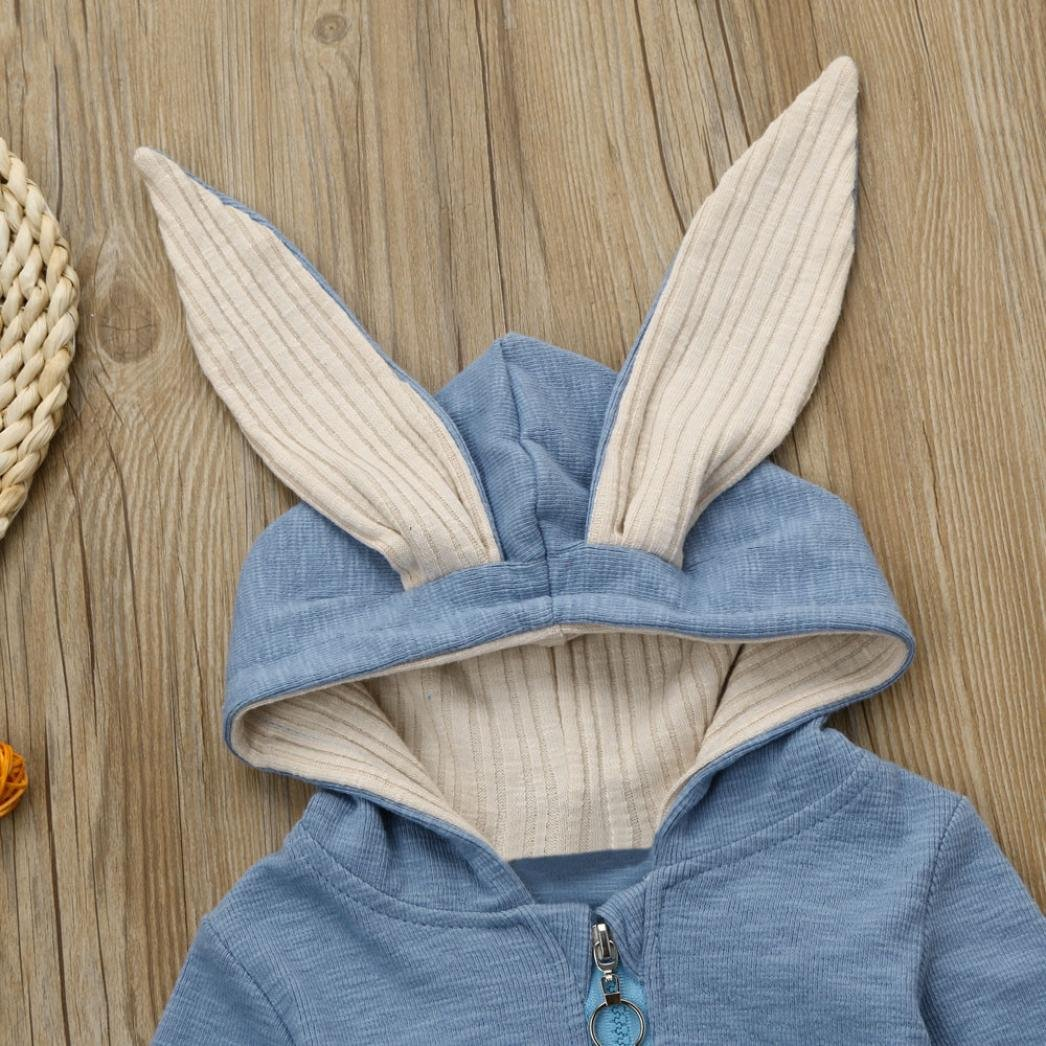 Jchen TM Autumn Winter Newborn Infant Baby Girl Boy Rabbit 3D Ear Warm Hooded Romper Jumpsuit