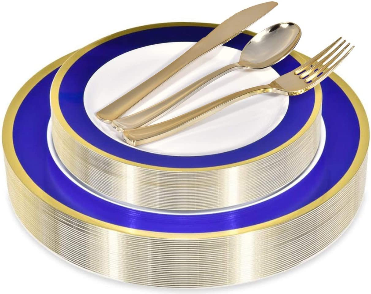 Elegant Plastic Plates with Plastic Silverware - 125 Piece Rim Plastic Party Dinnerware for Wedding, Birthday, Thanksgiving, Holiday, Party - Service for 25 Guests, 125 Piece (Blue and Gold)