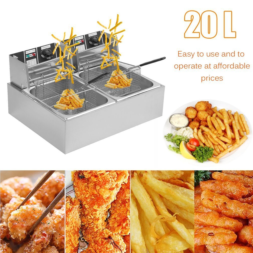 Homgrace Commercial Electric Dual Tank Deep Fryer, Professional 20L Countertop Stainless Steel Electric Deep Fryer (20L)