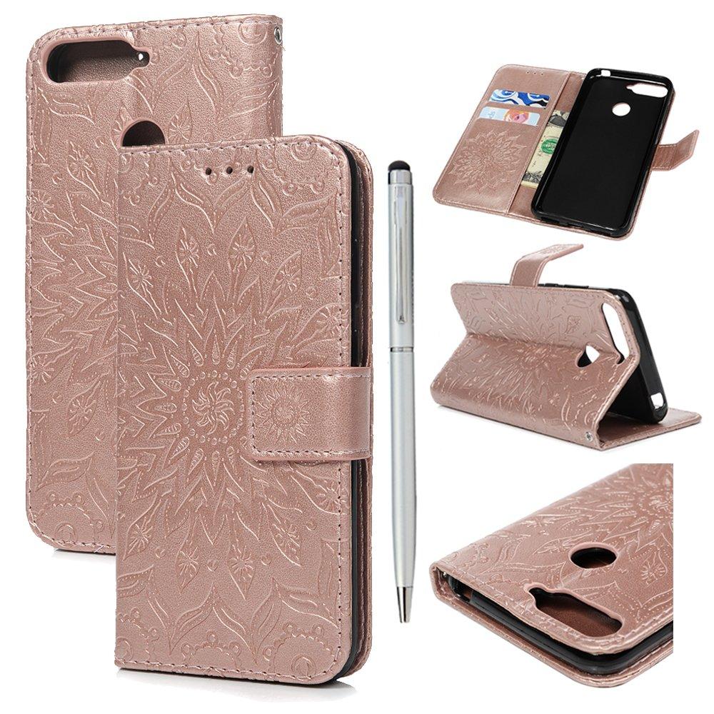 GEMYON Coque Huawei Honor 7A, Portefeuille Etui Transparente Housse Accessoire Cuir Silicone Antichoc Peint PU Case Carte Slots Magné tique Cover Flip Tournesol pour Huawei Honor 7A Gris A-GVZH2154S1602