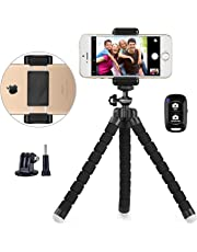 UBeesize Phone tripod, UBeesize Portable and Adjustable Camera Stand Holder with Wireless Remote and Universal Clip, Compatible with iPhone, Android Phone, Camera, Sports Camera GoPro
