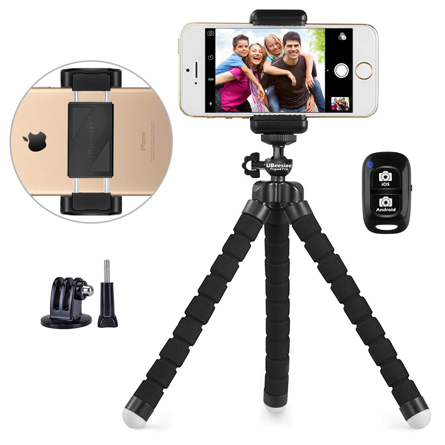 Phone Tripod, UBeesize Portable and Adjustable Camera Stand Holder with Wireless Remote and Universal Clip, Compatible with iPhone, Android Phone, Camera, Sports Camera GoPro (2018 New Version) by UBeesize
