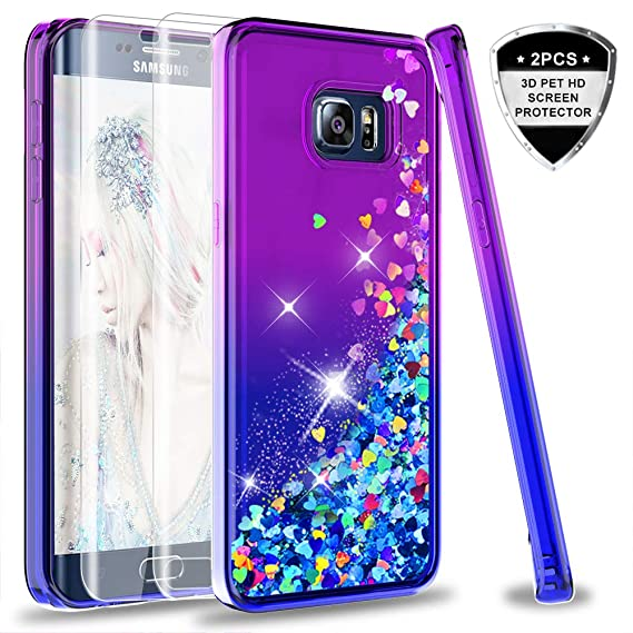 pretty nice 286b6 fefaf Galaxy S6 Edge Plus Case (Not Fit S6) with Tempered Glass Screen Protector  [2 Pack] for Girls Women, LeYi Glitter Diamond Liquid Quicksand Phone Case  ...