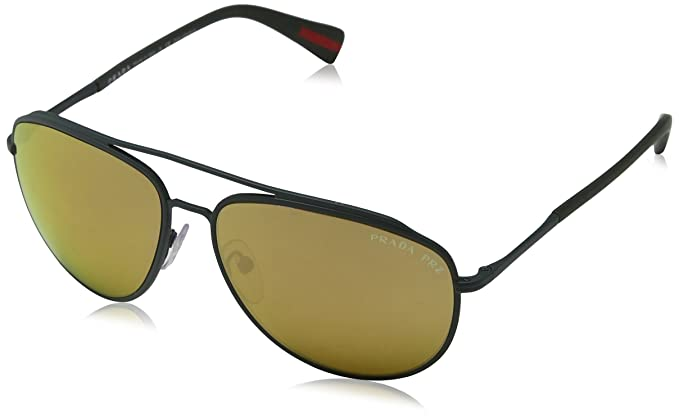 8ff766610c85e Image Unavailable. Image not available for. Color  Prada Linea Rossa Men s  PS 55RS Sunglasses Green Rubber Polar Dark Brown Mirror ...