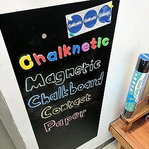 "Chalknetic Magnetic Chalkboard Contact Paper, 39.3"" x 17.7"", Self Adhesive Magnetic Chalkboard for Wall, Magnetic Wallpaper, Alphabet Learning Board for Homeschool Kids Toddlers Kindergarten Classroom"