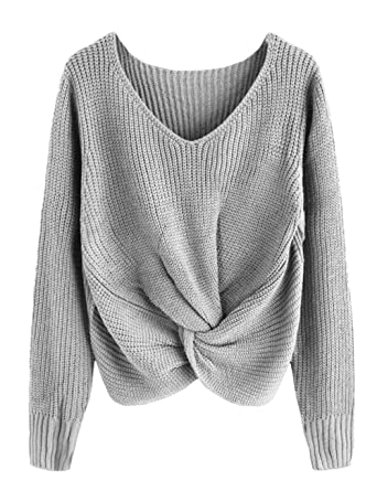 fd1f65c205f41 Womens Autumn Winter V Neck Sweaters Pullover Loose Fit Off The Shoulder  Warm Knit Tops at Amazon Women s Clothing store