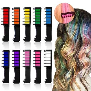 Amazon.com: 10 Colorful Hair Chalk Comb,Mini Temporary Hair ...