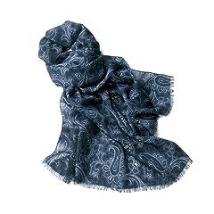 Breuer Wool Scarf: Navy / Grey Paisley