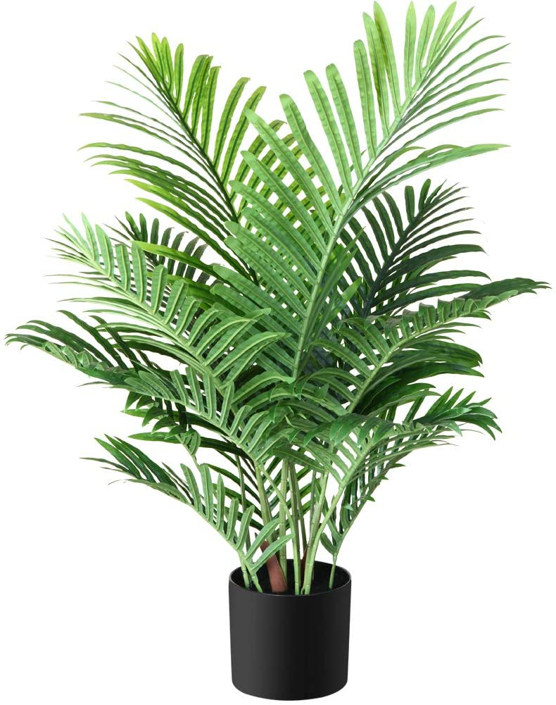 Fopamtri Fake Majesty Palm Plant 3 Feet Artificial Majestic Palm Faux Ravenea Rivularis in Pot for Indoor Outdoor Home Office Store, Great Housewarming Gift