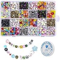 Acrylparels, 1200 stuks acryl letterkralen voor het maken van sieraden, doe-het-zelf kindersieraden maken kit met koord…