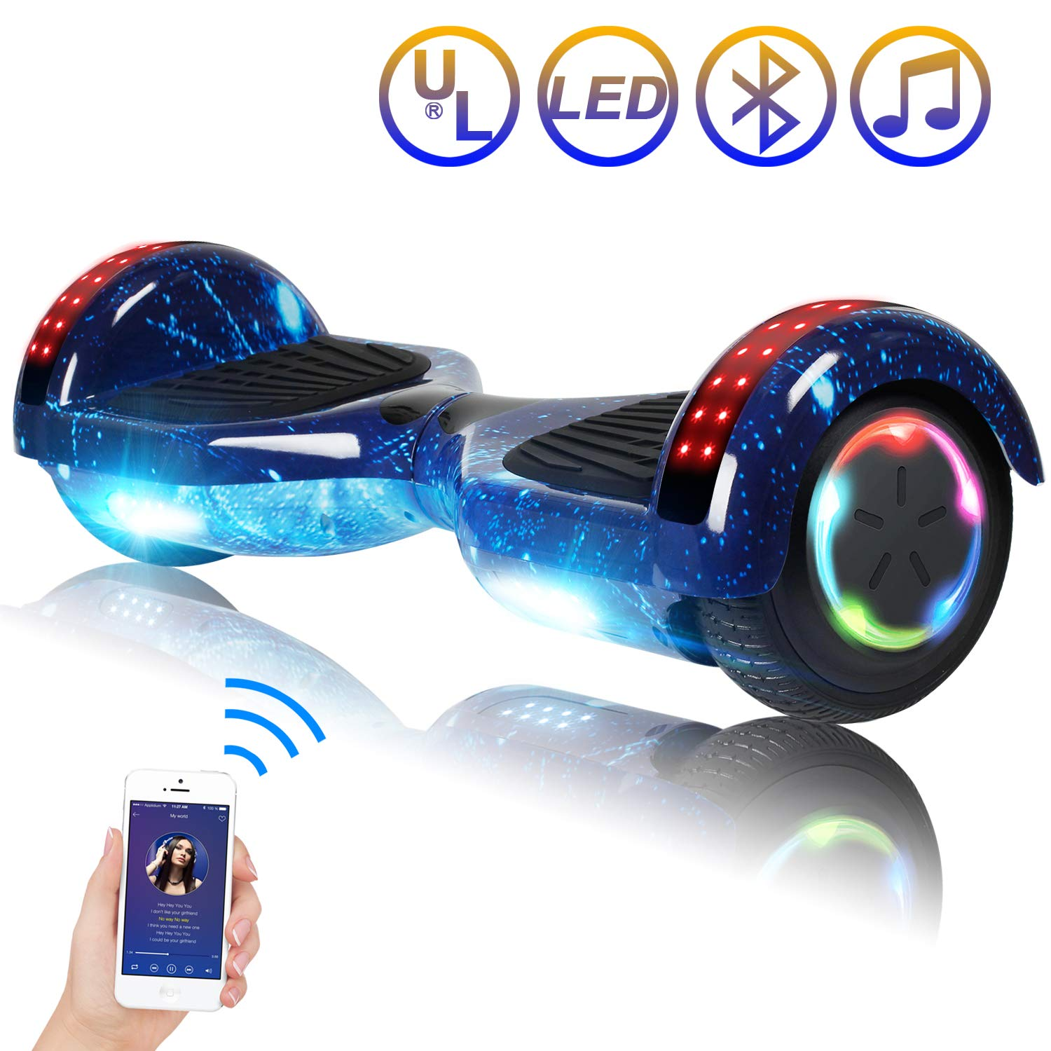 Hoverboard Self Balancing Scooter 6.5'' Two-Wheel Self Balancing Hoverboard with Bluetooth Speaker and LED Lights Electric Scooter for Adult Kids Gift UL 2272 Certified Fun Edition - Starry Sky