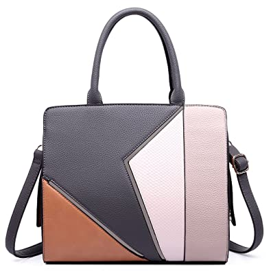 Miss Lulu Structured Leather Look Colour Block Shoulder Bag Grey   Amazon.co.uk  Shoes   Bags 2eebc0057fb83