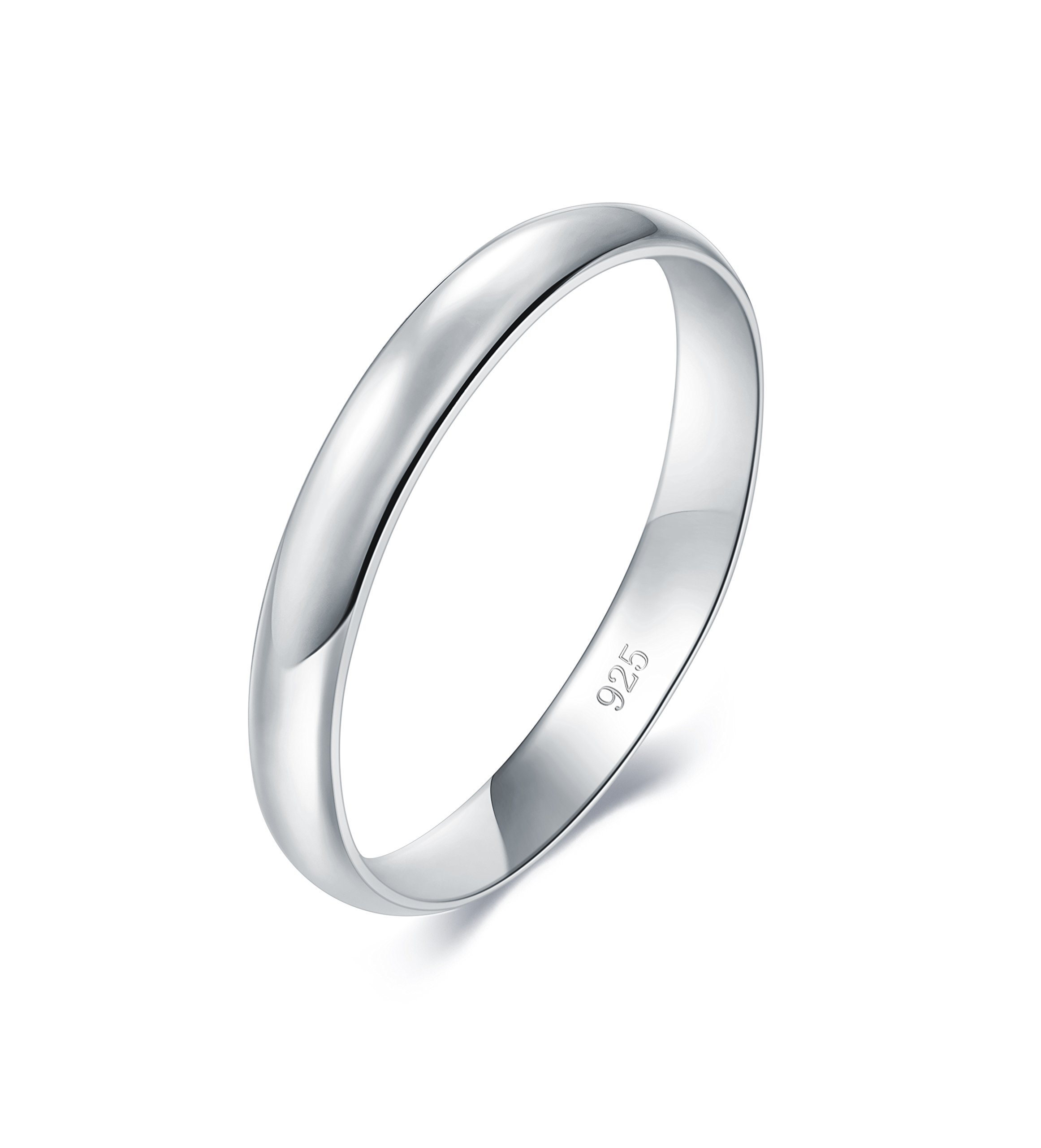 BORUO 925 Sterling Silver Ring High Polish Plain Dome Tarnish Resistant Comfort Fit Wedding Band 3mm Ring