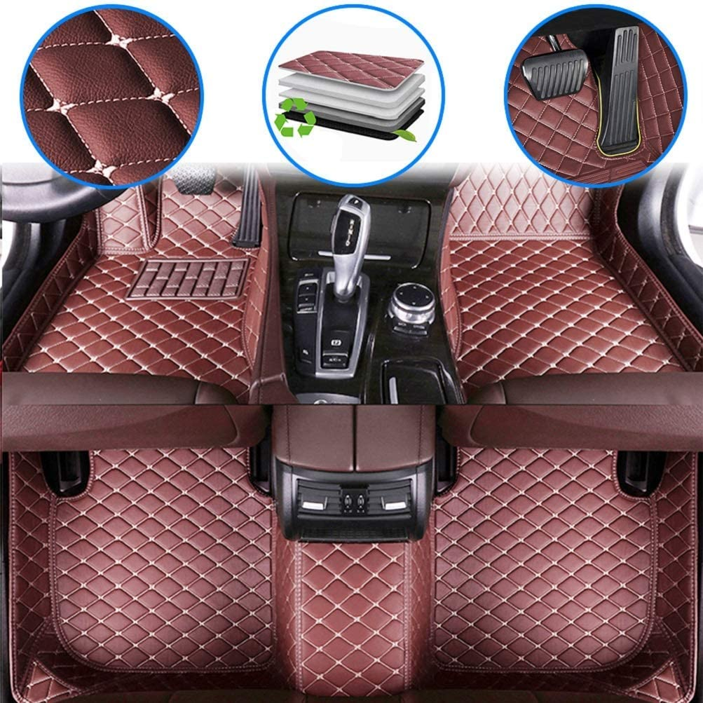 Car Custom Floor Mats for Mercedes Benz C-Class W204 2008-2016 Luxury Leather Waterproof Anti-Slip Full Coverage Liners Complete Set Black Red