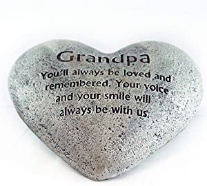 Party Explosions Heart Shaped Memorial Stone Indoor Decor for Grandpa