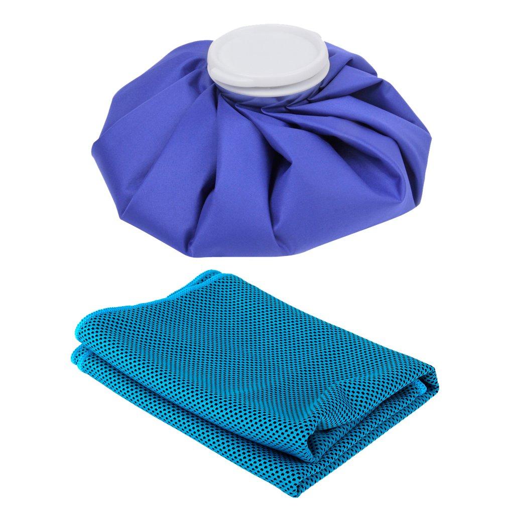 MagiDeal Bolsa de Hielo Alivio de Dolor + Enfriamiento Toalla de Hielo para Deportes Gimnasio de Yoga Azul