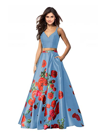 Lily Wedding Womens 2 Piece Floral Printed Prom Dresses 2019 Long