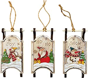 Christmas Sled Ornaments (Set of 3) Wooden Holiday Sleigh Tree Decorations - Hand Painted Farmhouse Christmas, Vintage Rustic Decorative Hanging Ornaments or Indoor Wall Decor (Snowman)