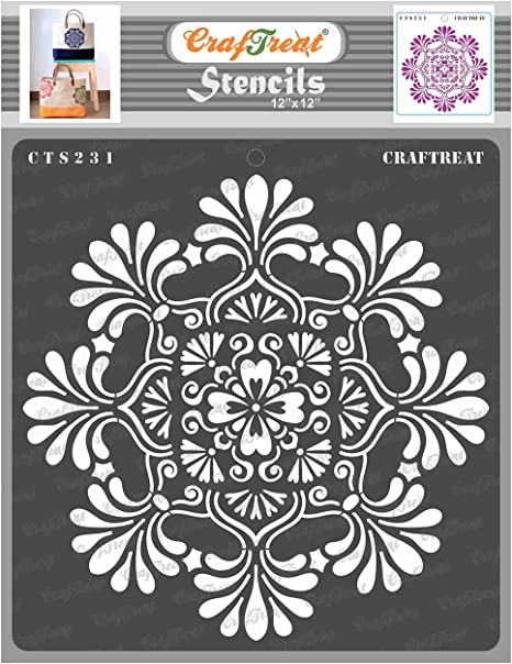 Border2 Home Decor Floor Decoration and Printing on Paper DIY Albums Scrapbook Reusable Painting Template for Journal Wood 3x12 inches Fabric Crafting Wall Tile CrafTreat Stencil