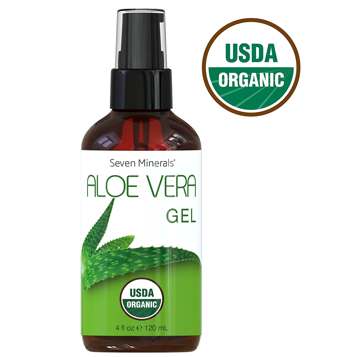 #1 USDA Organic Aloe Vera Gel by Seven Minerals – 100% Pure Organic Aloe, With No Toxic Chemicals Or Preservatives – For Healthy Skin, Hair, And After Sun Relief - 4 fl oz