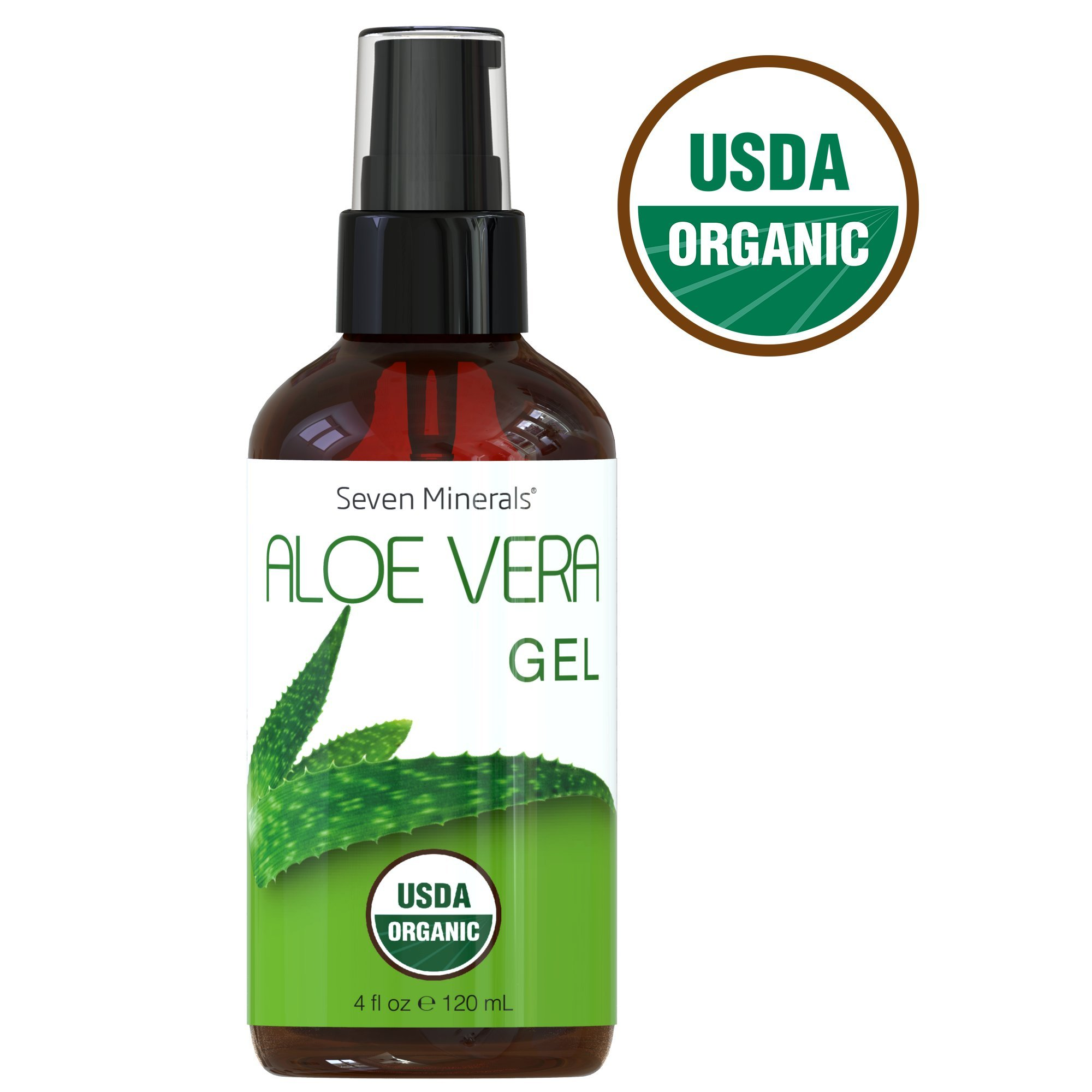 #1 USDA Organic Aloe Vera Gel by Seven Minerals – 100% Pure Organic Aloe, With No Toxic Chemicals Or Preservatives – For Healthy Skin, Hair, And After Sun Relief - 4 fl oz by Seven Minerals (Image #1)