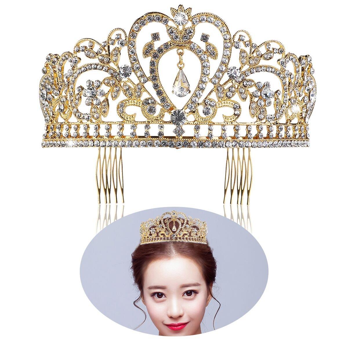 Amazon.com : Tinksky Crystal Rhinestone Gold Red Hair Tiara Crown ...