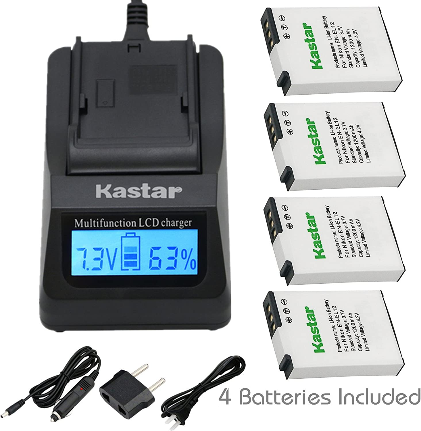 Kastar Ultra Fast Charger(3X faster) Kit and Battery (4-Pack) for Nikon EN-EL12 MH-65 work with Nikon Coolpix AW100, AW100s, AW110, AW110s, AW120, AW120s, P300, P310, P330, P340, S31, S70, S610, S620, S630, S640, S800c, S1000pj, S1100pj, S1200pj, S6000, S