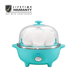 Elite Cuisine EGC-007T Easy Electric Egg Poacher, Omelet & Soft, Medium, Hard-Boiled Egg Cooker with Auto-Shut off and Buzzer, 7 Egg Capacity, Teal
