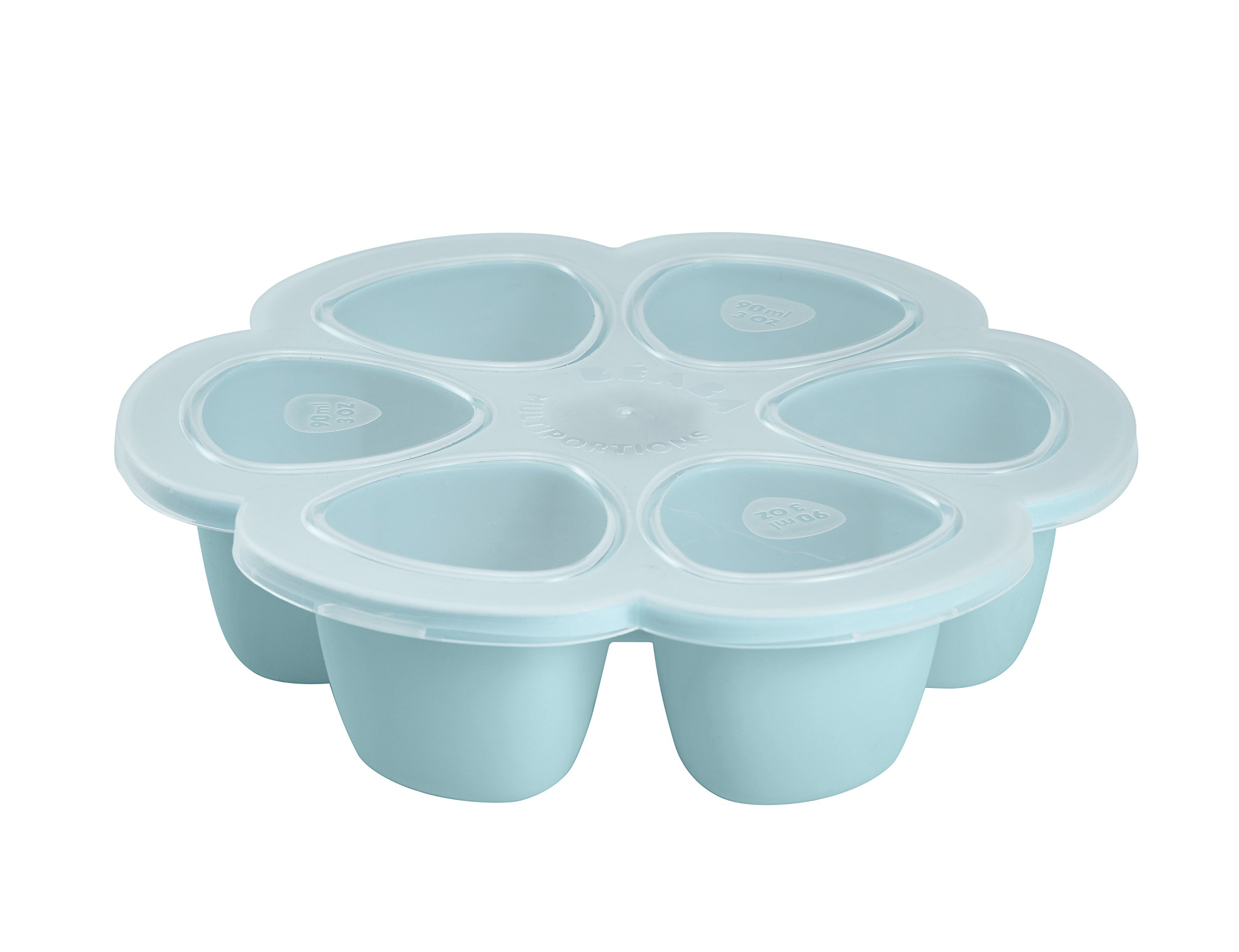 BEABA Silicone Multiportions Baby Food Tray, Oven Safe, Made in Italy, Sky