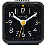 U-needQ Portable Travel Analog Alarm Clock, Non-Ticking - Battery Operated, Quartz Clock with 5 min Snooze - Loud Ascending Sound - Alarm Clocks with Night Light for Traveling, Backpacking, and Camping (Black)