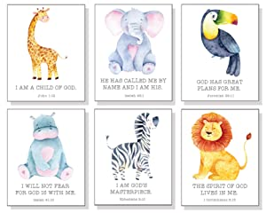Safari Nursery Decor Wall Art Prints with Bible Verses (Set of 6) - Jungle Nursery Decor for Boys and Girls - UNFRAMED - 8x10