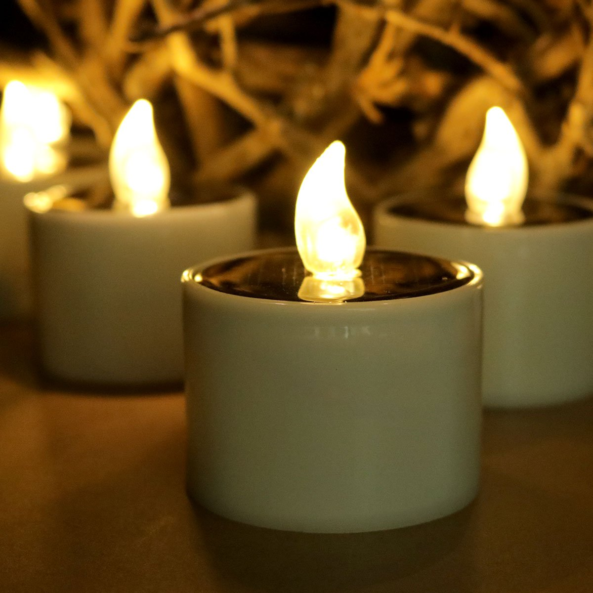 Led Solar Candles Pillar 6pcs, Flameless Tea Lights Large Solar Powered Flickering for Indoor Decorative, Windows Christmas Outdoors Pathway, Table Top, Cemetery, Halloween (Warm White)