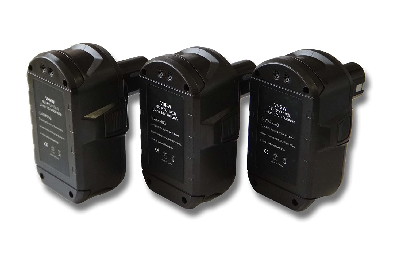 vhbw Sparset 3x Li-Ion Akku 4000mAh (18V) für Werkzeuge Ryobi CJSP-180QEOM, CMD-1802, CMD-1802M, CMI-1802, CMI-1802M, CML-180M, CNS-1801M, CNS-180L.