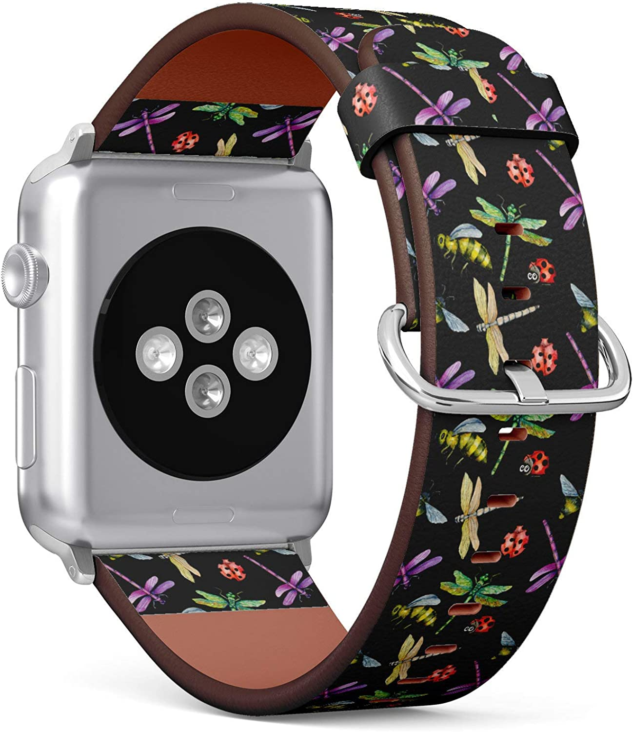 (Dragonfly, Ladybug and Bee Pattern) Patterned Leather Wristband Strap Compatible with Apple Watch Series 4/3/2/1 gen,Replacement of iWatch 38mm / 40mm Bands