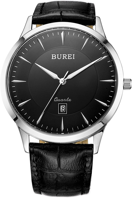 BUREI Classic Men s Quartz Watch Big Analog with Date Calendar Japanese Quartz Movement