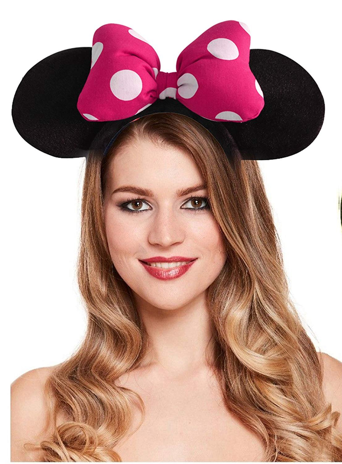 Minnie Mouse Ears Bow Headband Kids Baby Girl Sequin Party Hair Band Fancy Dress