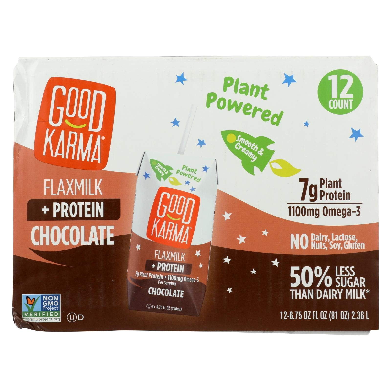 GOOD KARMA, FLAX MILK, PROTEIN, CHOCOLT, Pack of 1, Size 12/6.75F - No Artificial Ingredients Dairy Free Gluten Free Low Sodium Vegan