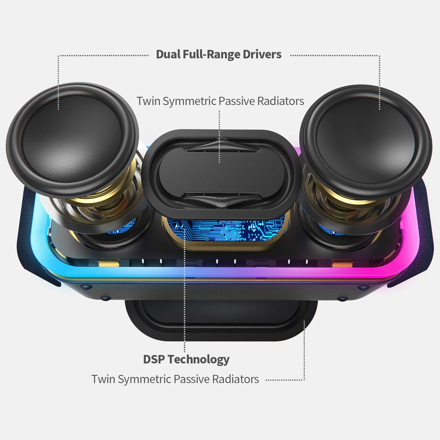 Blue Mixed Colors Lights DOSS SoundBox Pro+ Wireless Bluetooth Speaker with 24W Impressive Sound Wireless Stereo Pairing Booming Bass 66 ft Bluetooth Range 15 Hrs Battery Life IPX5 Waterproof