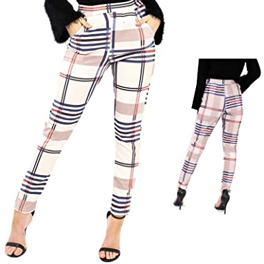 f2f2927c5be62 Extras Fashion Ladies Women Tartan Check Beige Tapered Tailored Trousers  High Waist Cigarette Burberry Pants UK 6 8 10 12 (8)  Amazon.co.uk  Clothing