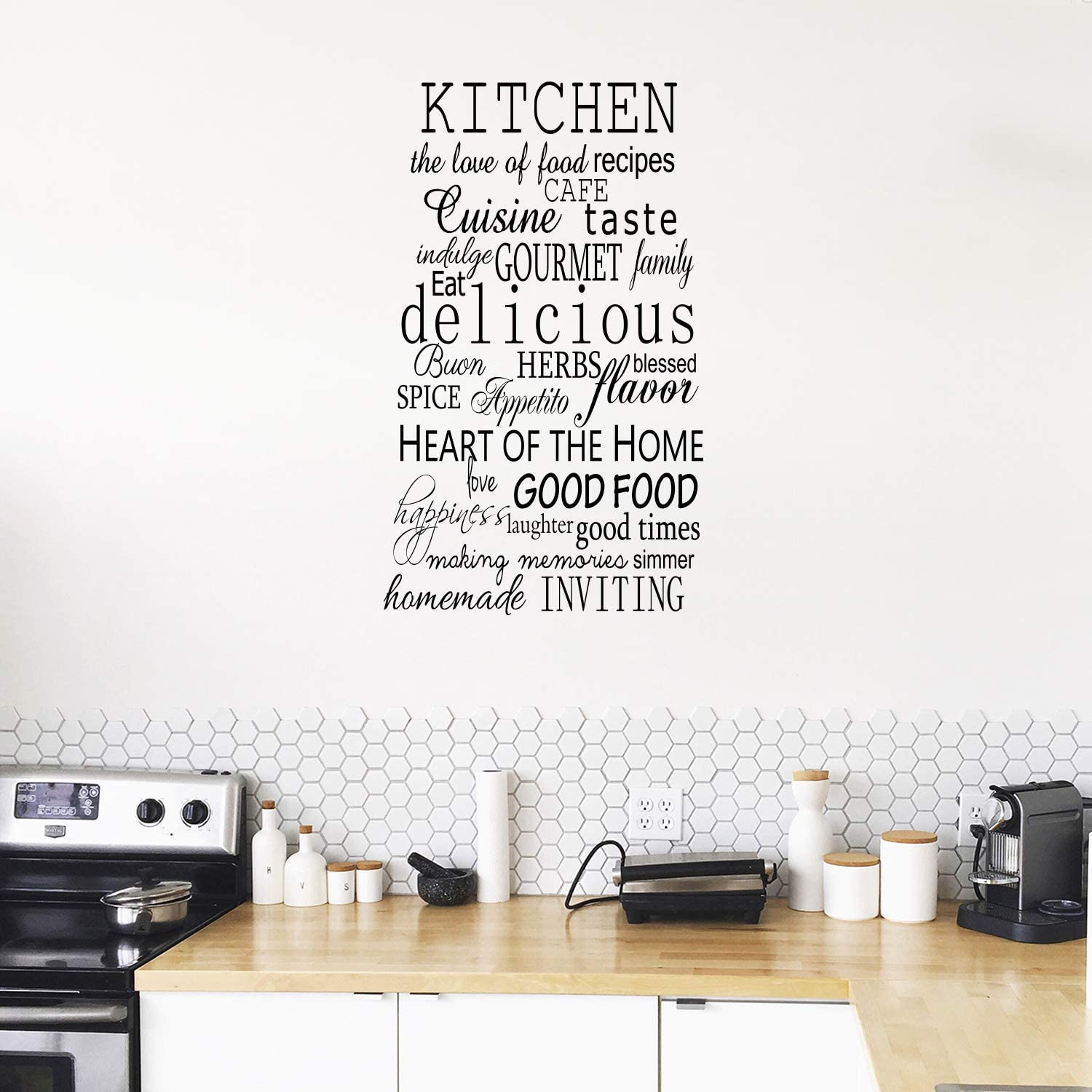Amazon Com Imprinted Designs Kitchen Words Decorative Vinyl Wall Decal Sticker Art 30 X 38 Arts Crafts Sewing
