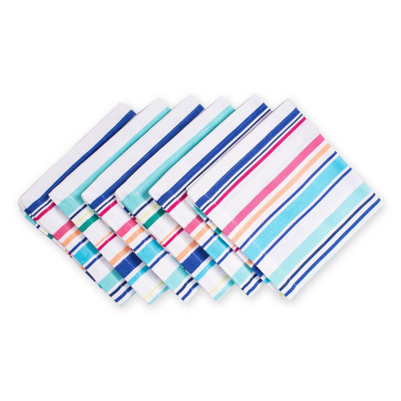 DII 100% Cotton, Machine Washable, Oversized Basic Everyday 20x20'' Napkin Set of 6, Beachy Stripe by DII