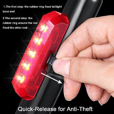 HKIASQ Feu arri/ère de v/élo Rechargeable par USB Le feu arri/ère de v/élo /à LED Se Fixe Facilement en Tant Que feu arri/ère Rouge pour Une s/écurit/é optimale /à v/élo