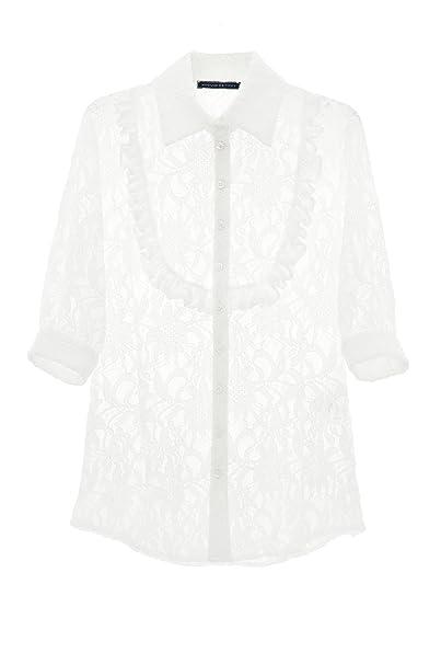Blusa de encaje, blanca Blanco blanco
