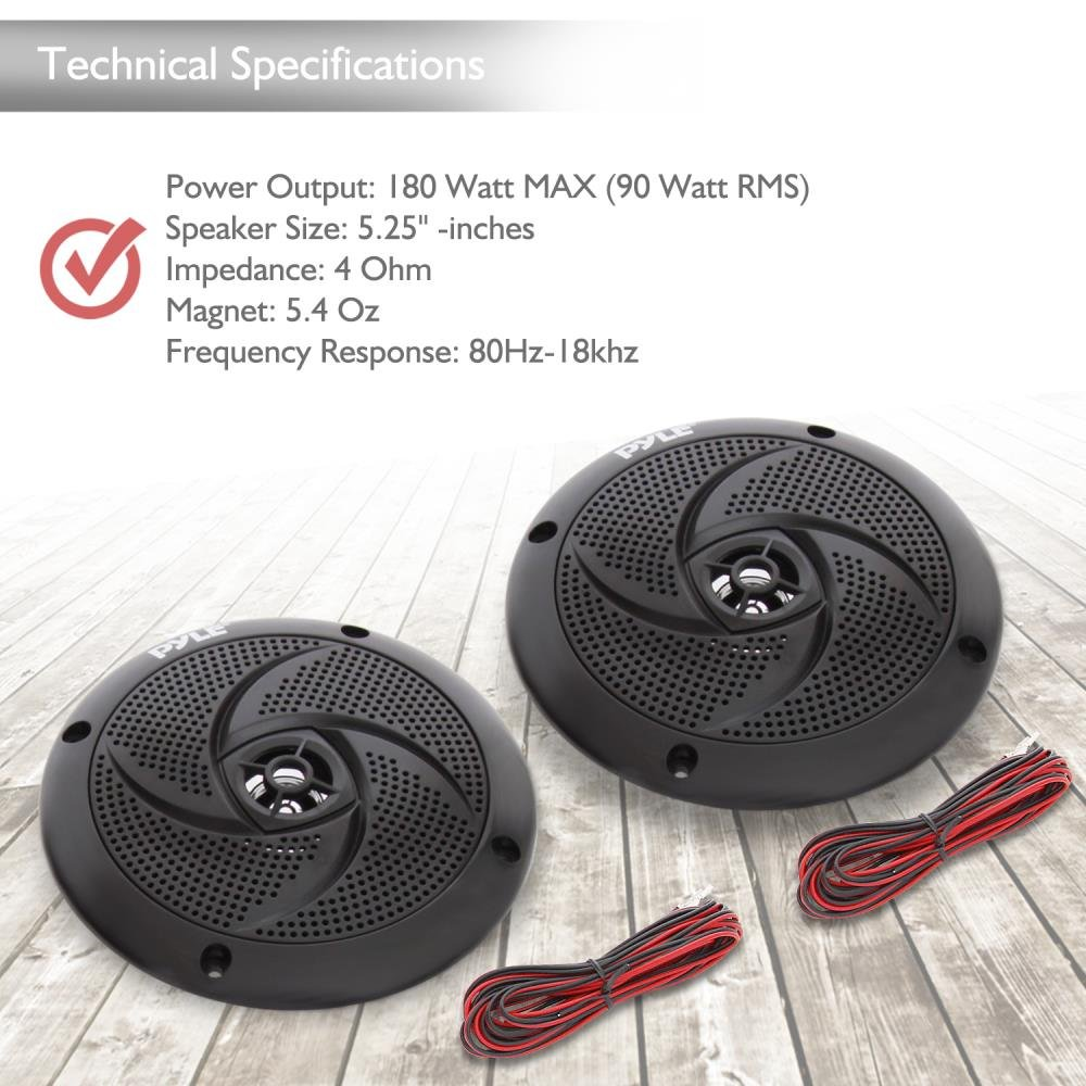 1 Pair in Black Pyle Marine Speakers PLMRS5B 5.25 Inch Low Profile Slim Style Waterproof Wakeboard Tower and Weather Resistant Outdoor Audio Stereo Sound System with 180 Watt Power