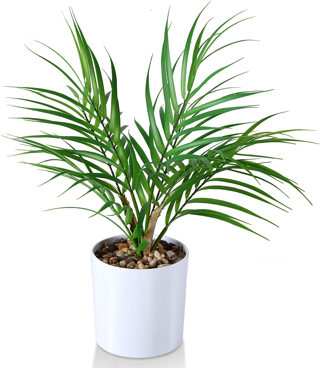 Kazeila Small Artificial Paradise Palm Tree 16 Inch Fake Areca Palm Plant,Faux Desk Plant in Pot for Indoor Outdoor Home Office Any Room Decor,Perfect Housewarming Gift