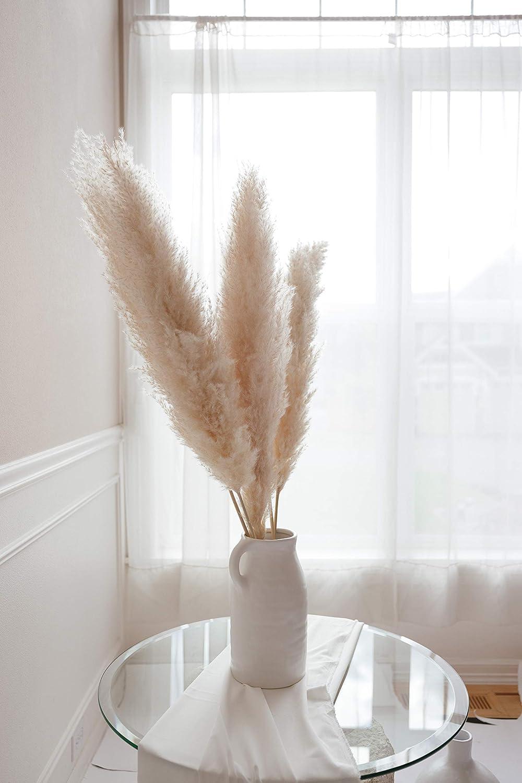 Luvong Collection Pampas Grass Large - Fluffy Dried Pampas Grass Tall (3 Stems) Faux Grass Decor for Floor Vase, Boho Home Décor, Natural Home Decor, Dried Floral Arrangement, Pompous Grass