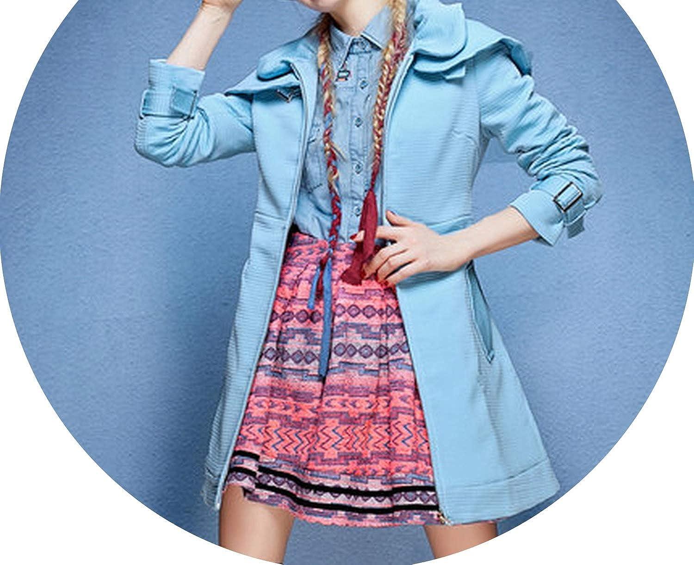 bluee Souieyshop Winter Wool Blend Long Trench Outwear Woolen Coat Blazer Cashmere Warm Spliced Jacket