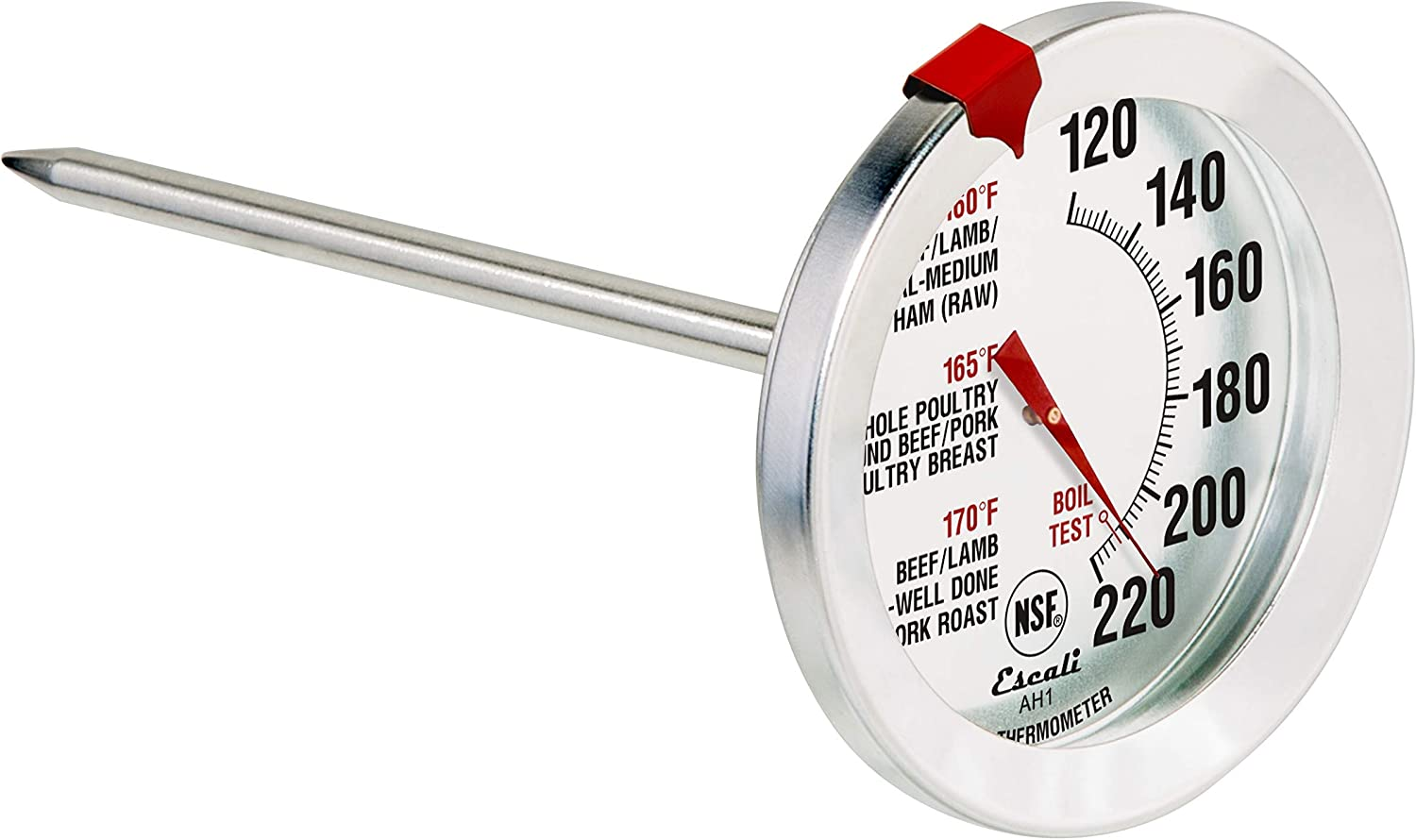 Escali AH1 NSF Certified ProAccurate Oven Safe Meat Thermometer, Extra Large Dial, Silver (Renewed)