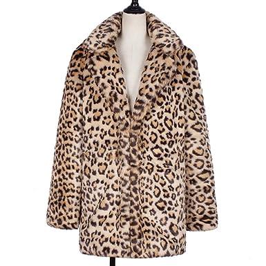 294b4c7abf96 BBring Damen Mantel Leopard-Druck Kunstpelz Revers Parka Herbst Winter Warm  Outwear  Amazon.de  Bekleidung